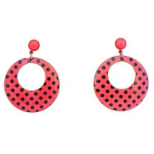 Vtg Pierced Earrings Pink Enamel Black Polka Dots
